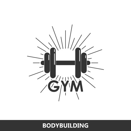 Vector illustration of a dumbbell with burst light rays. fitness or bodybuilding gym logo concept Vector