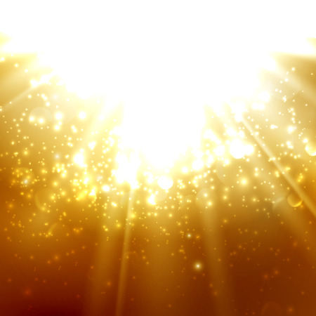 amber light: abstract illustration of light rays on the deep amber background with bubbles or sparkles. vector
