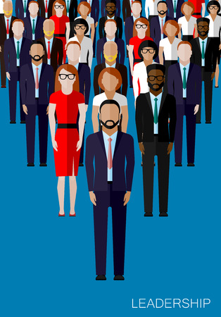 business teamwork: vector flat illustration of a leader and a team. a crowd of men and women (business people or politicians). leadership concept