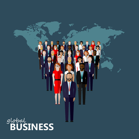 vector flat illustration of a leader and a team. a group of men and women (business men or politicians). leadership or global business concept. transnational corporate structure Vettoriali