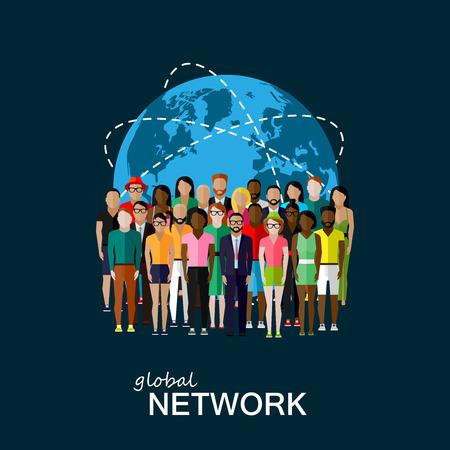 alrededor del mundo: Ilustración del vector del plano de los miembros de la sociedad con un gran grupo de hombres y mujeres. población. la sociedad moderna o concepto de red mundial Vectores