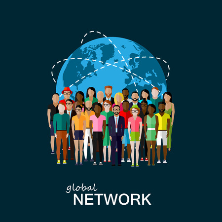network: vector flat illustration of society members with a large group of men and women. population. modern society or global network concept