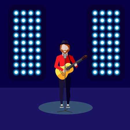 rock singer: vector flat illustration of a singer on stage. music performance or entertainment show