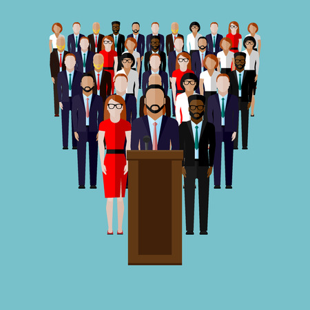 narrator: vector flat  illustration of a speaker (party candidate or leader) and team or electorate crowd. political campaign. election debates or press conference concept