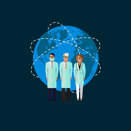 laboratorio dental: ilustración vectorial plana de médicos y símbolo del globo. concepto médico y sanitario Vectores