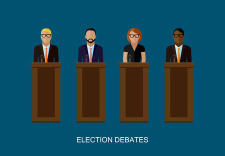relaciones publicas: ilustración vectorial plana de oradores. los políticos. debates electorales o concepto conferencia de prensa