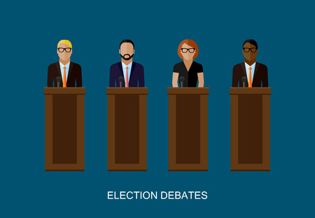 narrator: vector flat  illustration of a speakers. politicians. election debates or press conference concept