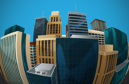 panoramic business: vector illustration of panoramic fisheye lens cityscape view. modern city with skyscrapers, business centers and other buildings. architectural composition with curvilinear perspective