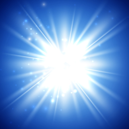 sun light: vector illustration of bright flash, explosion or burst on the blue background Illustration