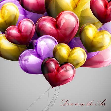 hintergrund liebe: Vektor-Urlaub Abbildung des Fliegens Haufen von festlichen Ballons Herzen. Valentinstag oder Hochzeit Hintergrund. Liebe liegt in der Luft