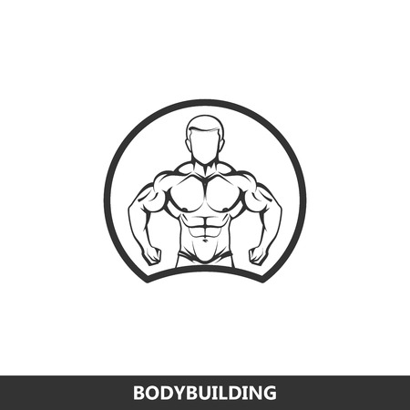 flexing: Vector illustration of muscled man body silhouette. fitness or bodybuilding gym logo concept