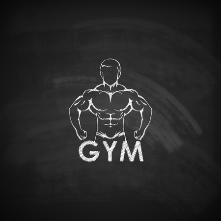 flexing: Vector chalk  illustration of muscled man body silhouette on the blackboard texture. fitness or bodybuilding gym logo concept