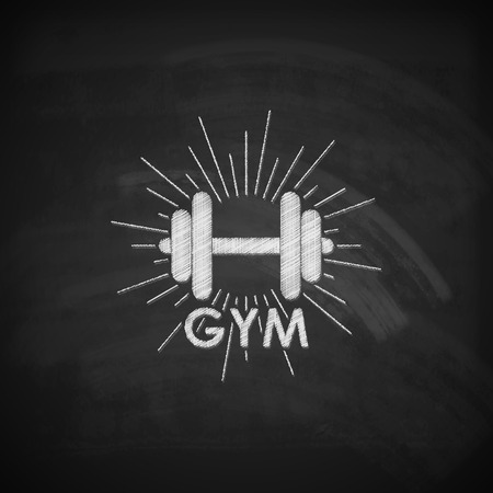 gym equipment: vector chalk  illustration of a dumbbell with burst light rays on the blackboard texture. fitness or bodybuilding gym logo concept