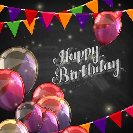 auguri di buon compleanno: vettore gesso illustrazione tipografica di scritto a mano retro etichetta di buon compleanno sulla trama lavagna con palloncini e bandiere di festa. Composizione scritta