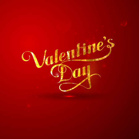 st valentines day: vector typographic illustration of golden foil St. Valentines Day retro label. holiday lettering composition Illustration