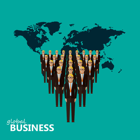 global work company: vector flat illustration of a leader and a team. a group of men (business men or politicians) wearing suits and ties. leadership or global business concept. transnational corporate structure