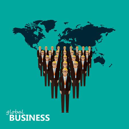 m�nner business: Vektor-Illustration einer flachen Leiter und Team. eine Gruppe von M�nnern (Gesch�ftsleute oder Politiker) tr�gt Anzug und Krawatte. F�hrung und globale Business-Konzept. grenz�berschreitende Unternehmensstruktur
