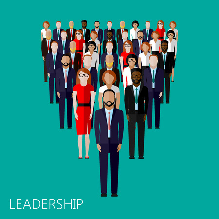 politicians: vector flat illustration of a leader and a team. a crowd of men and women (business people or politicians). leadership concept