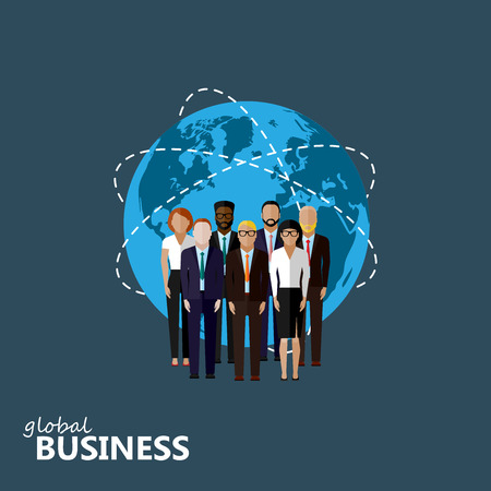 world market: vector flat illustration of business or politics community. a group of men and women (business community or politicians) wearing suits, ties and dresses. summit or conference family image. global business concept