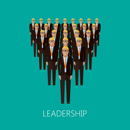 transnational: vector flat illustration of a leader and a team. a group of men (business people or politicians). leadership concept Illustration