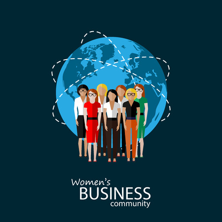 business team: vector flat illustration of women business community. a group of women (business women or politicians). summit or conference family image. global business concept