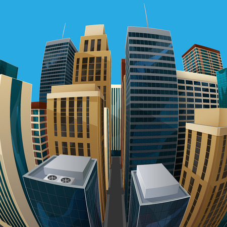 fisheye: vector illustration of panoramic fisheye lens cityscape view. modern city with skyscrapers, business centers and other buildings. architectural composition with curvilinear perspective