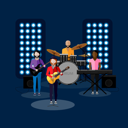 appearance: vector flat illustration of a music band on stage. performance or entertainment show