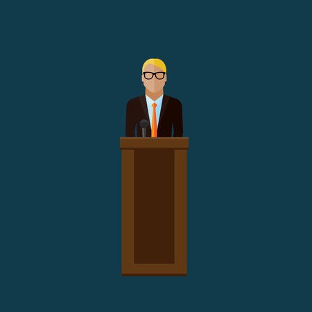 press conference: vector flat  illustration of a speaker. politician. election debates or press conference concept