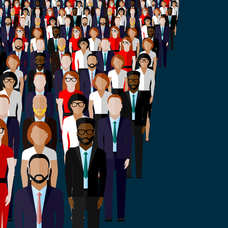 crowd: vector flat illustration of business or politics community. a large group of men and women (business community or politicians) wearing suits, ties and dresses. Illustration