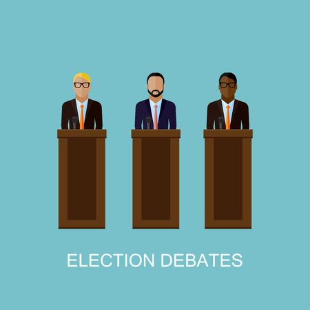 rueda de prensa: ilustraci�n vectorial plana de oradores. los pol�ticos. debates electorales o concepto conferencia de prensa