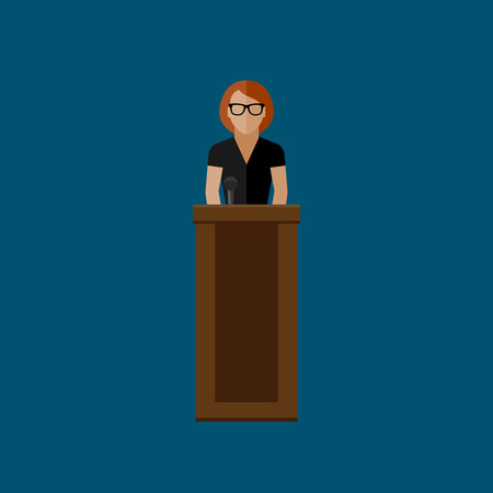 narrator: vector flat  illustration of a speaker. politician. election debates or press conference concept