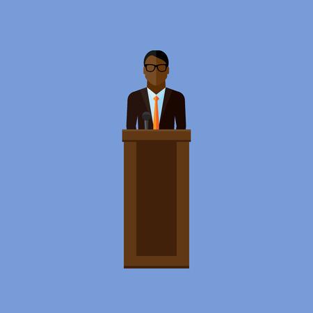 press conference: vector flat  illustration of a speaker. politician. election debates or press conference concept