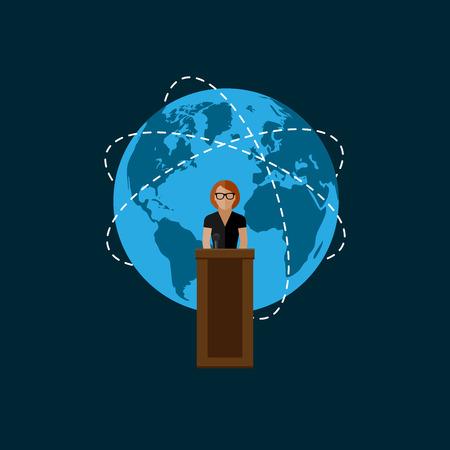 rueda de prensa: ilustraci�n vectorial plana de un s�mbolo del altavoz y el globo. pol�tico. debates electorales o concepto internacional asunto rueda de prensa