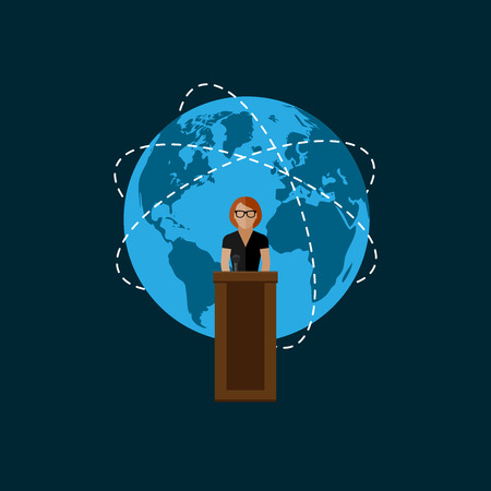 woman speaking: vector flat  illustration of a speaker and globe symbol. politician. election debates or international affair press conference concept