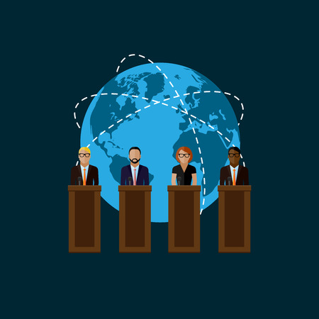 press conference: vector flat  illustration of a speakers and globe symbol. politicians. election debates or international affair press conference concept