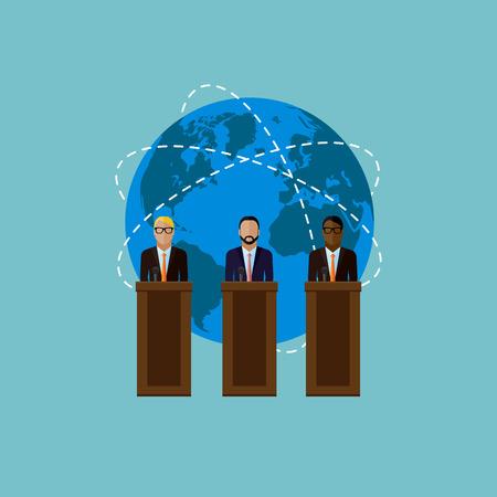 rueda de prensa: ilustraci�n vectorial plana de un s�mbolo de altavoces y el mundo. los pol�ticos. debates electorales o concepto internacional asunto rueda de prensa Vectores