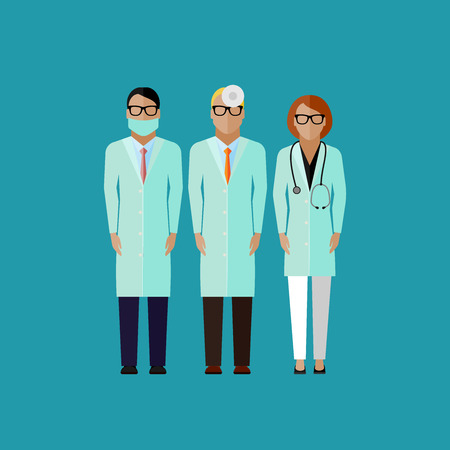 health professionals: vector flat illustration of doctors. medical and healthcare concept