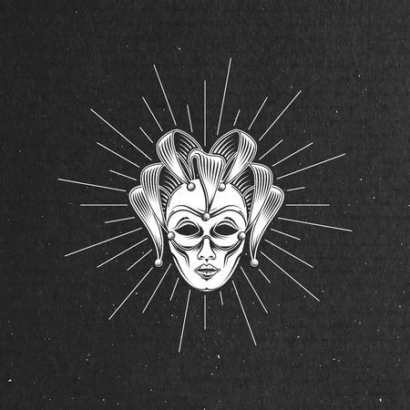 ilustración vectorial de grabado máscara veneciana del carnaval o bufón emblema y rayos de luz sobre negro textura de la cartulina. símbolo del carnaval