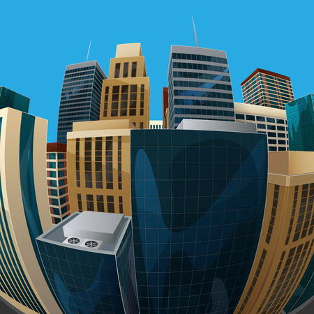 distorted: vector illustration of panoramic fisheye lens cityscape view. modern city with skyscrapers, business centers and other buildings. architectural composition with curvilinear perspective