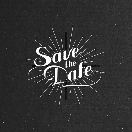 vector typographic illustration of handwritten Save the Date retro label with light rays or burst on black cardboard texture. lettering composition