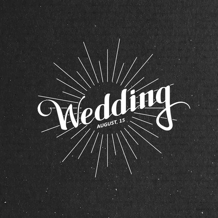 memory card: vector typographic illustration of handwritten Wedding retro label with light rays or burst on the black cardboard background. ceremony invitation logo Illustration