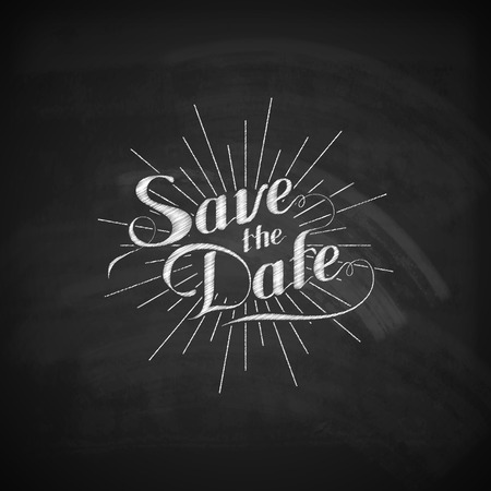 light burst: vector chalk illustration of handwritten Save the Date retro label with light rays or burst  on the blackboard texture. lettering composition
