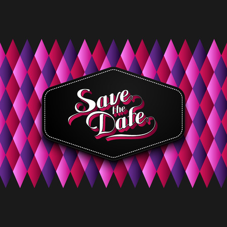 checkered label: vector typographic illustration of handwritten Save the Date retro label on checkered geometric background. lettering composition