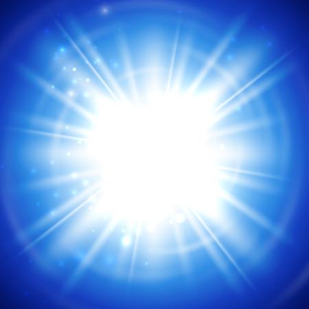 vector illustration of bright flash, explosion or burst on the blue background Illustration