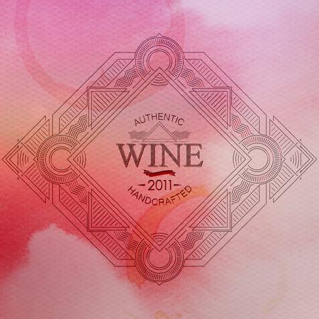 artdeco: ilustraci�n vectorial con adornado etiqueta del vino art-deco de fondo de la acuarela. l�nea de art-deco elemento de dise�o elegante. plantilla de paquete