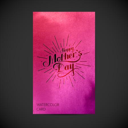 madre: ilustración vectorial tipografía manuscrita de etiqueta retro Feliz día de las madres con los rayos de luz sobre fondo de acuarela. composición de las letras. diseño de la postal