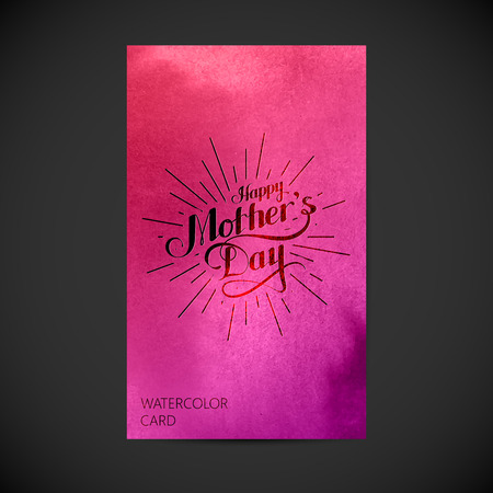 mother's: vector typographic illustration of handwritten Happy Mothers Day retro label with light rays on watercolor background. lettering composition. postcard design Illustration