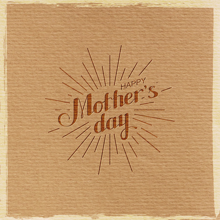 light rays: vector typographic illustration of handwritten Happy Mothers Day retro label with light rays. lettering composition