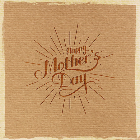 love mom: vector typographic illustration of handwritten Happy Mothers Day retro label with light rays. lettering composition