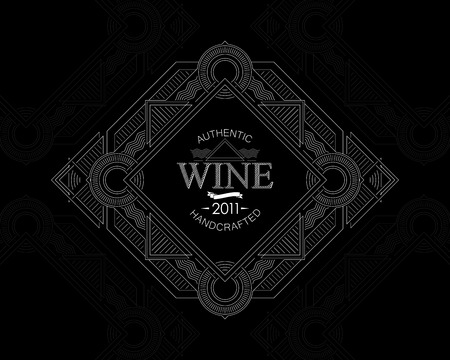 artdeco: vector illustration with ornate wine label on cardboard texture. graceful line art-deco design element. package template